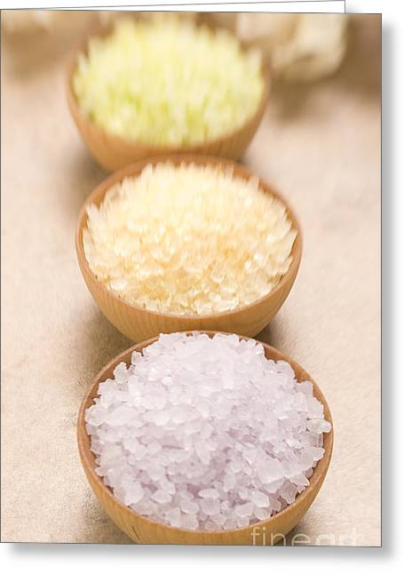 Therapy Greeting Cards - Bath Salt in wood bowls Greeting Card by Iris Richardson