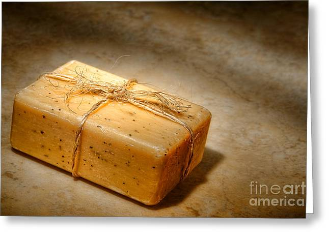 Soap Greeting Cards - Bath Soap Greeting Card by Olivier Le Queinec