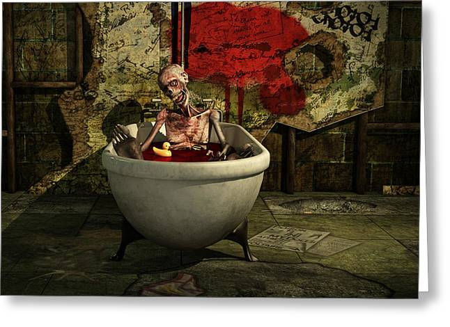 Funny Greeting Cards - Bath Time For Zombie Greeting Card by Liam Liberty