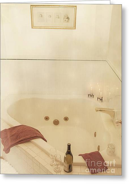 Photography Of Wine Bottles Greeting Cards - Bath Time Greeting Card by Juli Scalzi