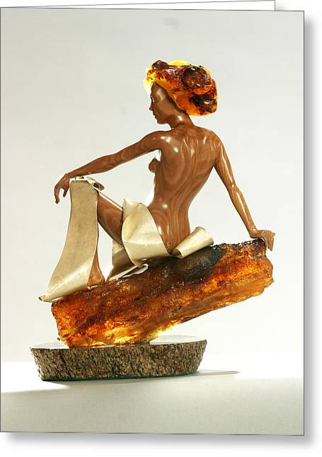 Goddess Sculptures Greeting Cards - Bathed in the fire Greeting Card by Jacek Sumeradzki