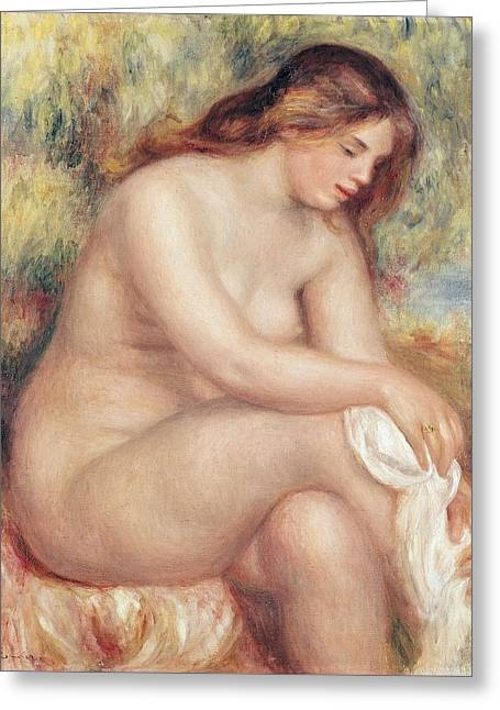 Bather Drying Herself Greeting Card by Pierre Auguste Renoir