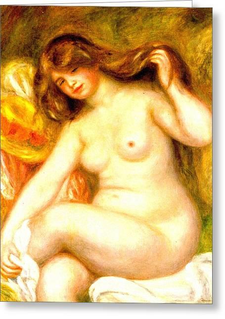 Renoir Digital Greeting Cards - Bather II Greeting Card by Pierre-Auguste Renoir