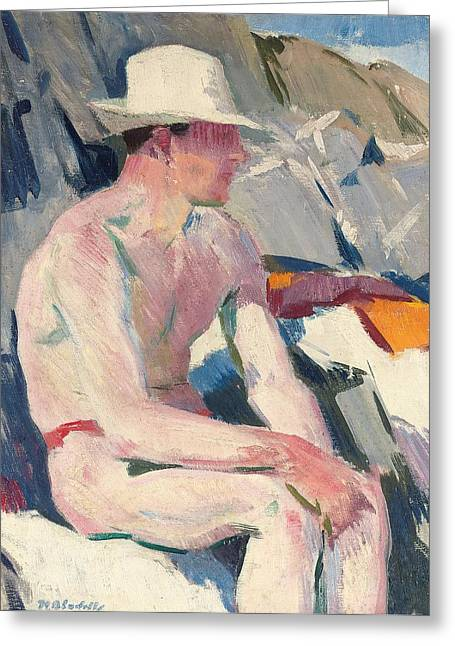 Pale Pink Greeting Cards - Bather in a white hat Greeting Card by Francis Campbell Boileau Cadell