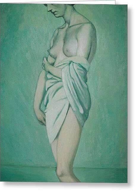 Bathers Greeting Cards - Bather in profile effect of green and pink Greeting Card by Felix Edouard Vallotton