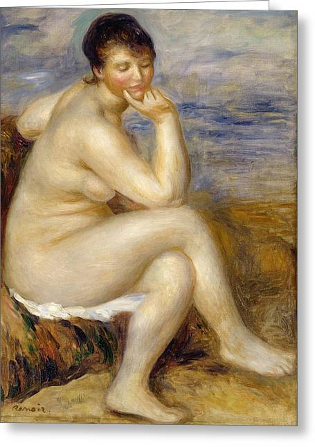 Renoir Greeting Cards - Bather Seated on a Rock Greeting Card by Pierre Auguste Renoir