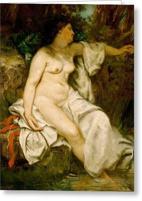 Bathers Greeting Cards - Bather Sleeping by a Brook Greeting Card by Gustave Courbet