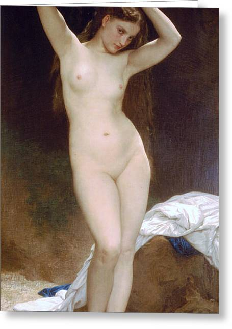 Romanticism Greeting Cards - Bather Greeting Card by William-Adolphe Bouguereau