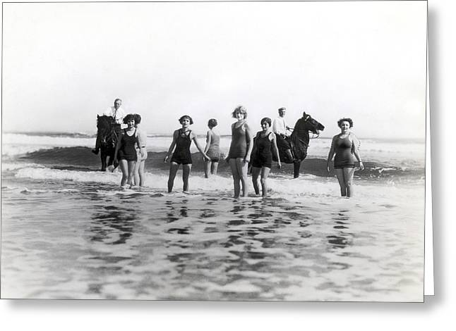 Bathers And Horses In The Surf Greeting Card by Underwood & Underwood
