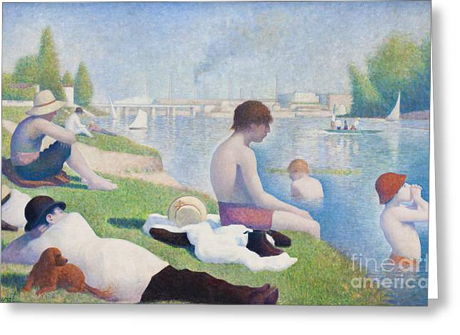 Seurat Greeting Cards - Bathers at Asnieres by George Seurat Greeting Card by Roberto Morgenthaler