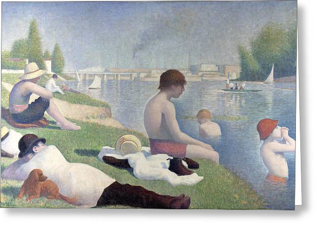 Seurat Greeting Cards - Bathers at Asnieres Greeting Card by Georges Seurat