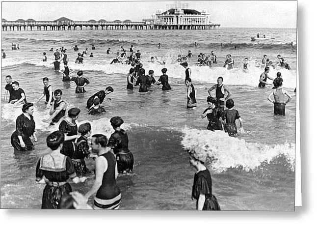 Surf City Greeting Cards - Bathers at Atlantic City Baech Greeting Card by Underwood & Underwood