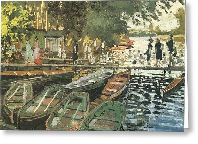 Swimmers Greeting Cards - Bathers at La Crenovillere Greeting Card by Claude Monet