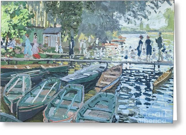 La Grenouillere Greeting Cards - Bathers at la Grenouillere by Claude Monet Greeting Card by Roberto Morgenthaler