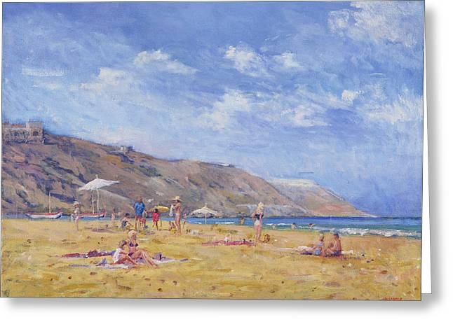 Sunbathing Greeting Cards - Bathers, Gozo Oil On Canvas Greeting Card by Christopher Glanville