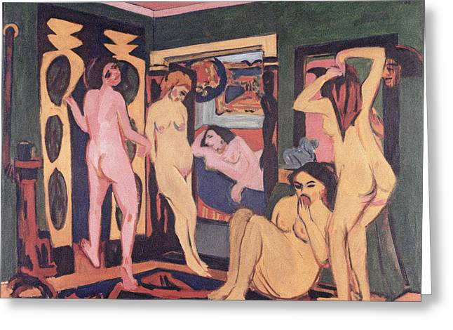 Bathers In A Room Greeting Card by Ernst Ludwig Kirchner