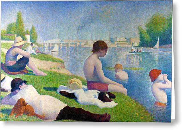 Seurat Greeting Cards - Bathers In Asnieres Greeting Card by Georges Seurat