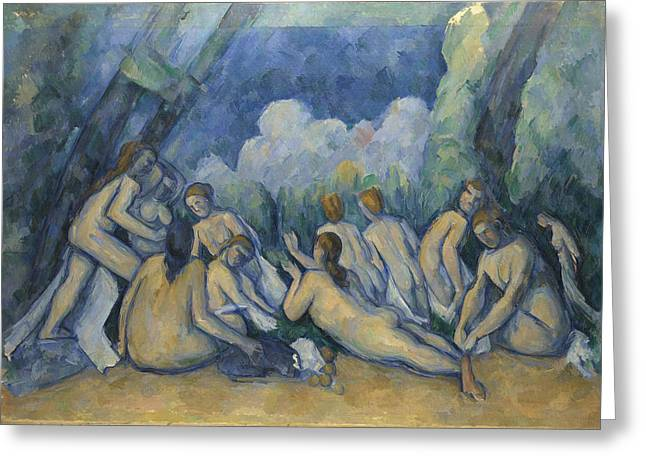 Baigneuse Greeting Cards - Bathers Les Grandes Baigneuses Greeting Card by Paul Cezanne