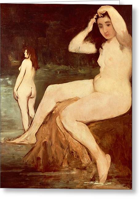 Shower Paintings Greeting Cards - Bathers on Seine Greeting Card by Edouard Manet