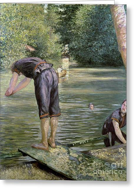 Diving Greeting Cards - Bathers on the Banks of the Yerres Greeting Card by Gustave Caillebotte