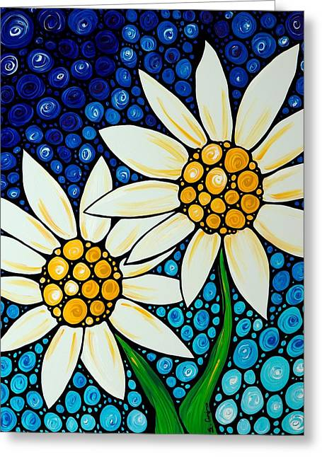 Daisies Greeting Cards - Bathing Beauties - Daisy Art By Sharon Cummings Greeting Card by Sharon Cummings