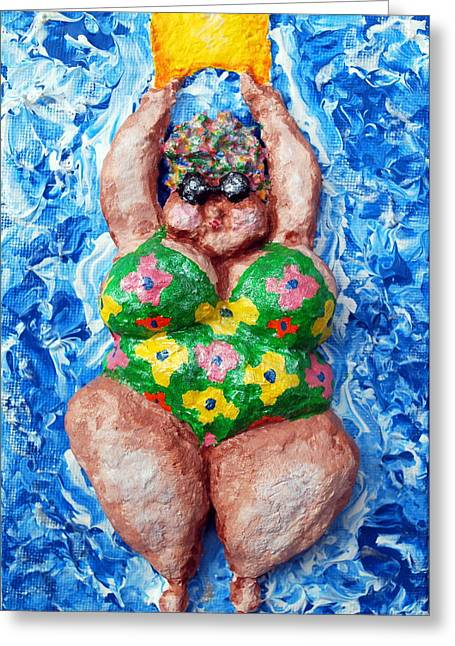Chubbyart Reliefs Greeting Cards - Bathing Beauty Greeting Card by Alison  Galvan