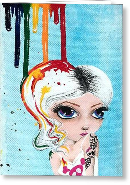 Oddball Art Greeting Cards - Bathing In Rainbows Greeting Card by Oddball Art Co by Lizzy Love