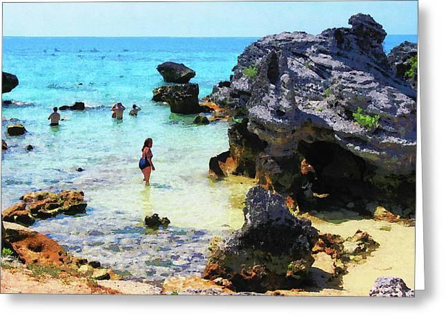 Bathing In The Ocean St. George Bermuda Greeting Card by Susan Savad