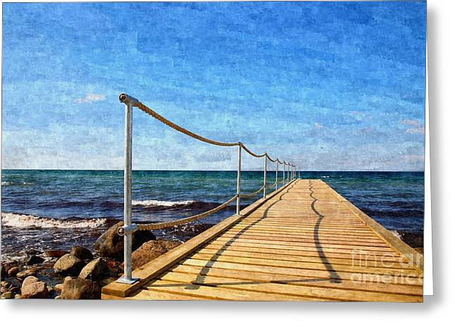Kattegat Greeting Cards - Bathing jetty to the ocean Greeting Card by Niels Quist