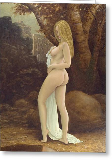 Old Masters Greeting Cards - Bathing Greeting Card by John Silver