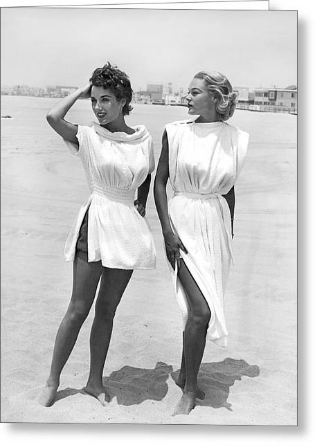 White Cloth Greeting Cards - Bathing Suit Cover Ups Greeting Card by Underwood Archives