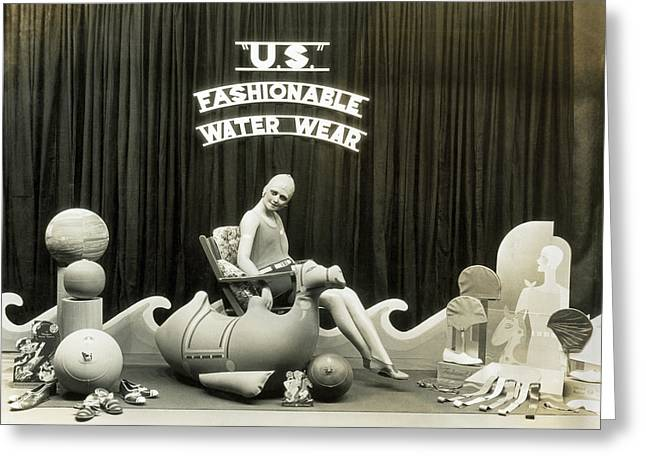 Bathing Suits Store Display Greeting Card by Underwood Archives