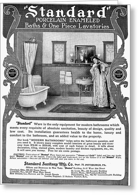 Bathroom Advertisement Greeting Card by Granger