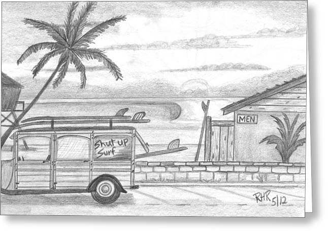 Beach Sunsets Drawings Greeting Cards - Bathroom Break Greeting Card by Ray Ratzlaff