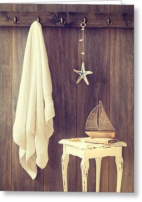 Toy Boat Greeting Cards - Bathroom Interior Greeting Card by Amanda And Christopher Elwell