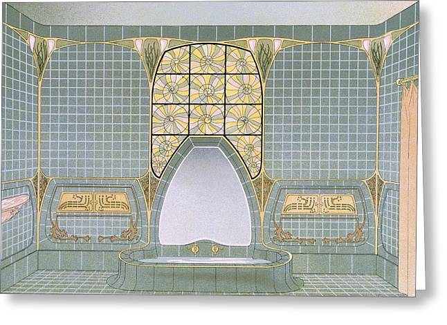 Modernism Greeting Cards - Bathroom Interior Designed By Henri Greeting Card by .