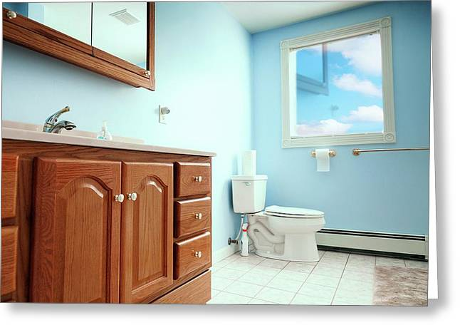 Bathroom Interior Greeting Card by Wladimir Bulgar