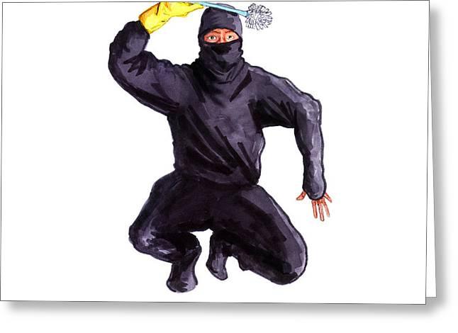 Nice Drawings Greeting Cards - Bathroom Ninja Greeting Card by Del Gaizo