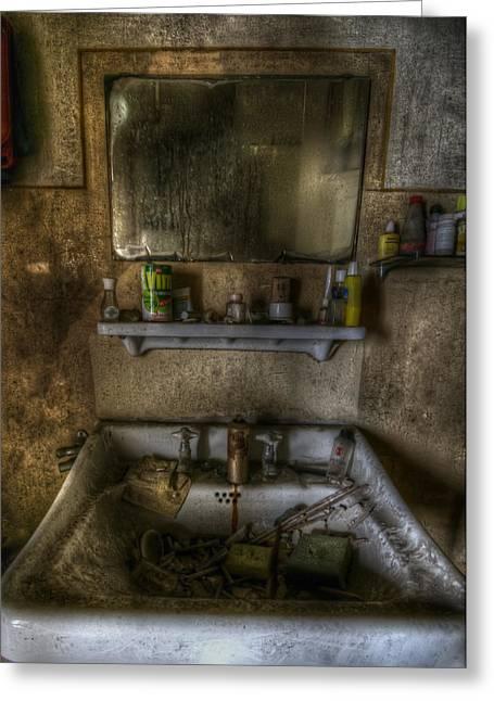 Creepy Digital Greeting Cards - Bathroom sink Greeting Card by Nathan Wright