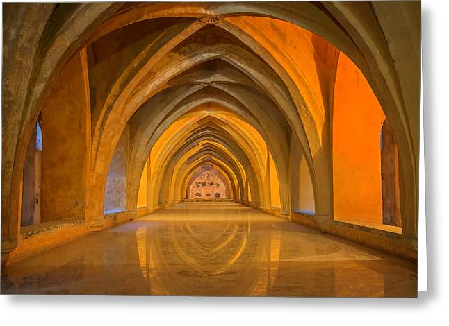 Royal Art Greeting Cards - Baths at Alcazar Seville Greeting Card by Joan Carroll