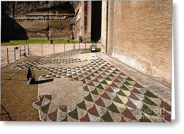 Caracalla Greeting Cards - Baths floor tile Greeting Card by Ted Pollard