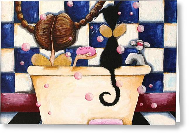Pet Angels Greeting Cards - Bathtime Angels Greeting Card by Lucia Stewart