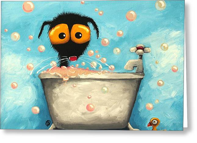 Tap Paintings Greeting Cards - Bathtime Bubbles Greeting Card by Lucia Stewart