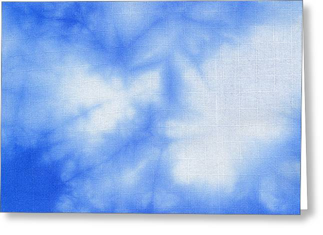 Shade Tapestries - Textiles Greeting Cards - Batik blue and white Greeting Card by Kerstin Ivarsson