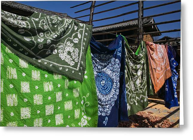 Retail Art Greeting Cards - Batik Fabric Souvenirs At A Market Greeting Card by Panoramic Images