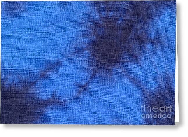 Shade Tapestries - Textiles Greeting Cards - Batik in blue shades Greeting Card by Kerstin Ivarsson