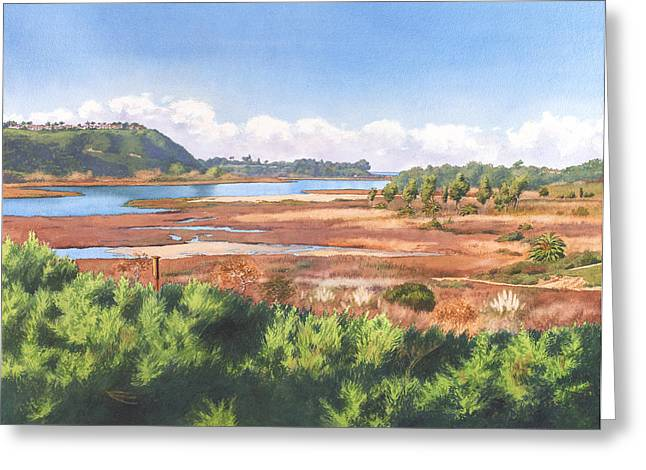 Batiquitos Lagoon Carlsbad California Greeting Card by Mary Helmreich