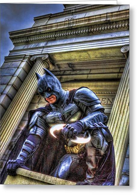 Caped Crusader Greeting Cards - Batman - Dark Knight - City of Fear Greeting Card by Lee Dos Santos