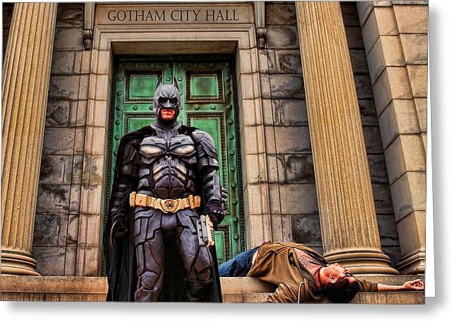 Batman - Dark Knight Hunter of Predators  Greeting Card by Lee Dos Santos