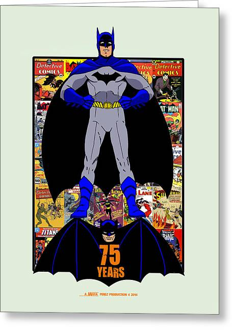 Batman Mixed Media Greeting Cards - BATMAN 75 Years Greeting Card by Mista Perez Cartoon Art